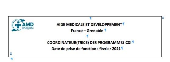 Offre de poste à Grenoble – Aide médicale et développement